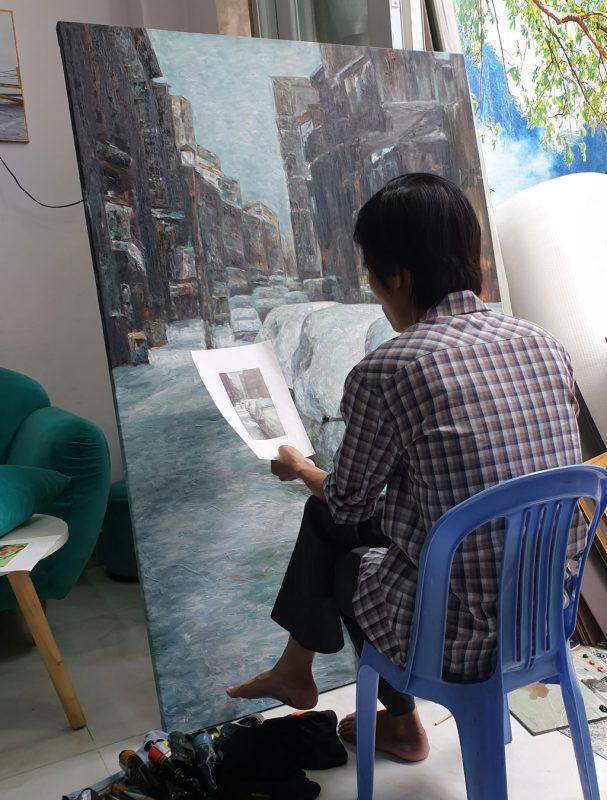 ve tranh son dau tran phu 1 607x800 - Giới thiệu về Tranh Sơn Dầu Trần Phú