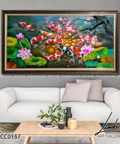 tranh ca chep hoa dao 1 247x296 - Tranh Cá Chép Hoa Đào - LCC0137
