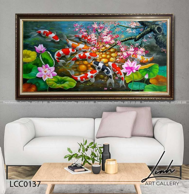 tranh ca chep hoa hoa dao 1 778x800 - Tranh Cá Chép - LCC0126