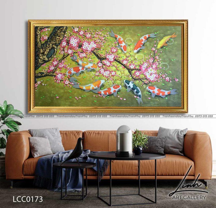 tranh ca chep hoa hoa dao 4 834x800 - Tranh Cá Chép - LCC0126