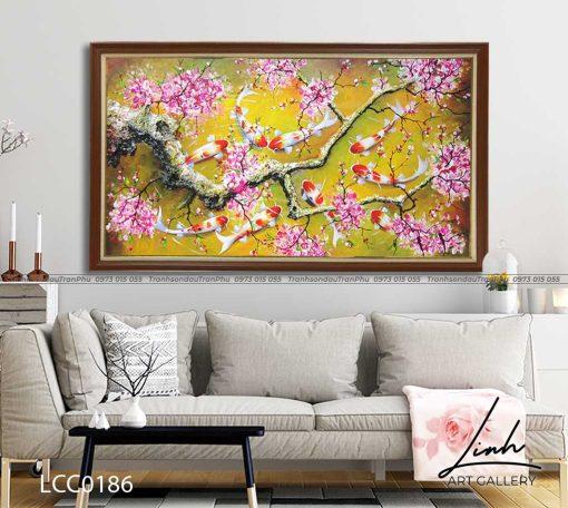 tranh ca chep hoa hoa dao 7 510x456 - Tranh Cá Chép Hoa Đào - LCC0186