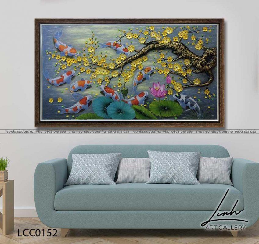 tranh ca chep hoa mai 5 849x800 - Tranh Cá Chép - LCC0126