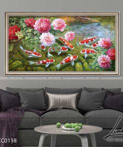 tranh ca chep hoa mau don 1 247x296 - Tranh Cá Chép Hoa Mẫu Đơn - LCC0118