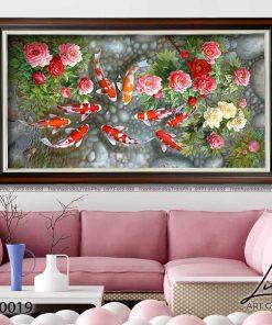 tranh ca chep hoa mau don 3 1 247x296 - Tranh Cá Chép Hoa Mẫu Đơn - LCC0019