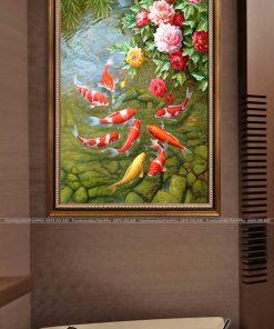 tranh ca chep hoa mau don 6 247x296 - Tranh Cá Chép Hoa Mẫu Đơn - LCC0103