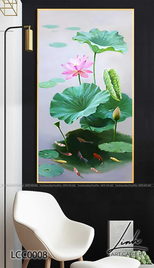 tranh ca chep hoa sen121 510x887 - Tranh Cá Chép Hoa Sen - LCC0008