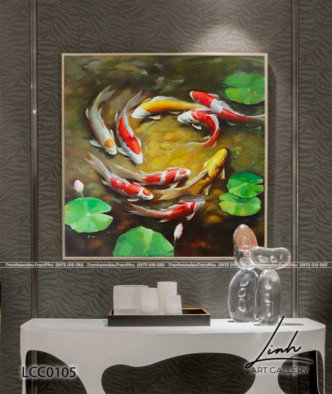 tranh ca chep hoa sen48 675x800 - Tranh Cá Chép - LCC0126