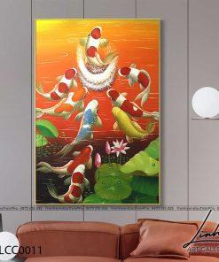 tranh ca chep vuot vu mon 1 247x296 - Tranh Cá Chép Vượt Vũ Môn - LCC0011