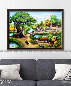 tranh lang que 198 247x296 - Tranh Đồng Quê - LDQ0372