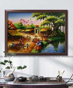 tranh lang que 281 247x296 - Tranh Làng Quê - LDQ0281