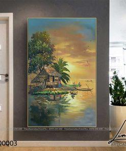 tranh lang que 3 247x296 - Tranh Làng Quê - LDQ0003