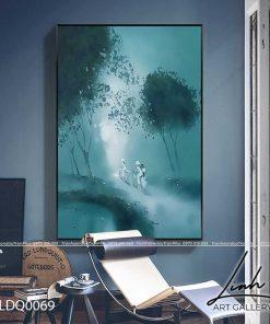 tranh lang que 69 1 247x296 - Tranh Làng Quê - LDQ0069