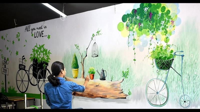 tranh tuong quan cafe 3 - Các mẫu tranh tường quán cafe đẹp, độc đáo nhất tại Linh Art