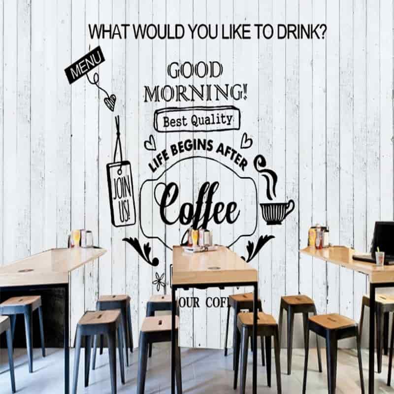 tranh tường quán cafe đen trắng