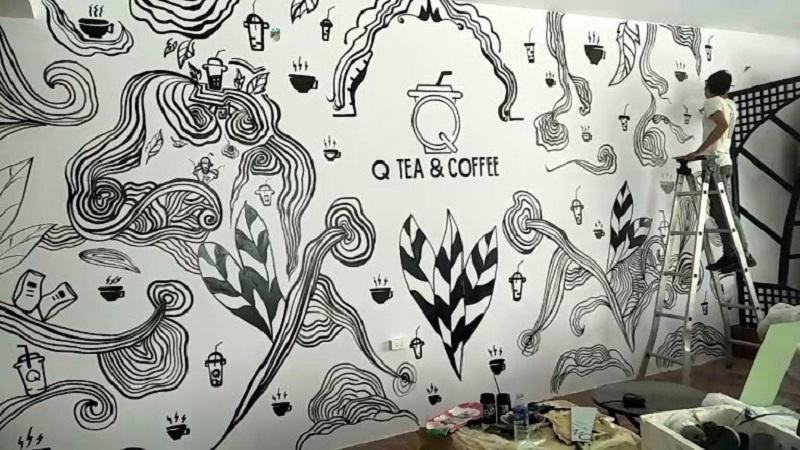 tranh tuong quan cafe den trang 4 - Tranh tường quán cafe đen trắng độc đáo phù hợp với không gian tối giản