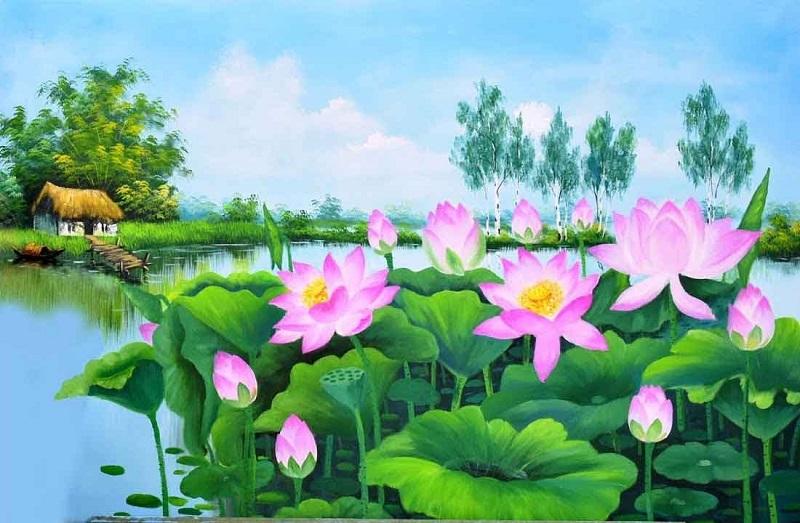 tranh ve hoa sen 1 - Những mẫu tranh vẽ hoa sen đẹp và ấn tượng nhất cho người xem