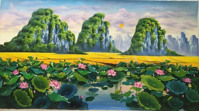 tranh ve hoa sen 4 1 - Những mẫu tranh vẽ hoa sen đẹp và ấn tượng nhất cho người xem