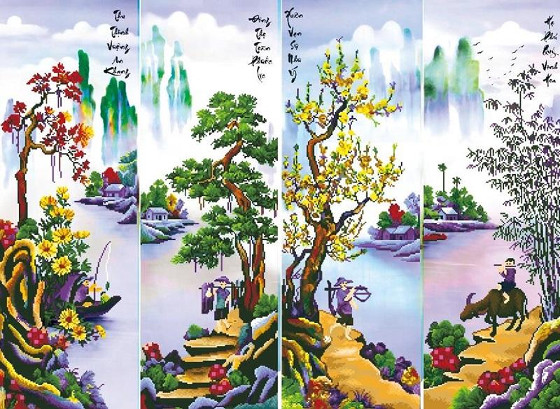 tranh xuan ha thu dong 2 - Ý nghĩa của dòng tranh xuân hạ thu đông và cách treo tranh hợp phong thủy
