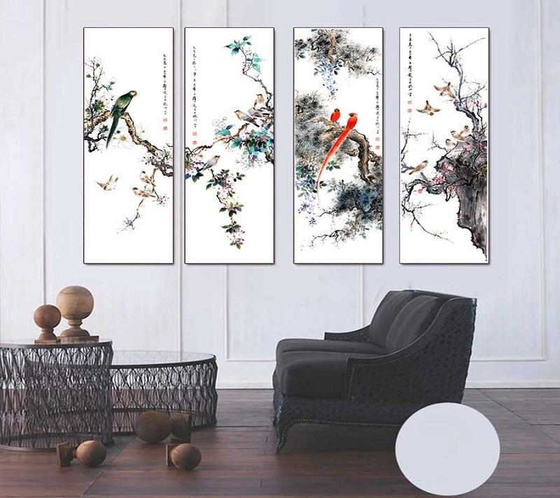 tranh xuan ha thu dong 3 - Ý nghĩa của dòng tranh xuân hạ thu đông và cách treo tranh hợp phong thủy