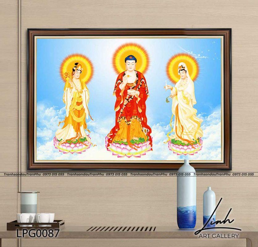tranh tam the phat a di da 836x800 - Tranh Bồ Tát Thiên Thủ Thiên Nhãn - LPG0133