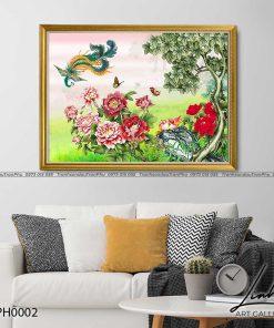 tranh phuong hoang hoa mau don 1 247x296 - Tranh Phượng Hoàng Hoa Mẫu Đơn - LPH0002