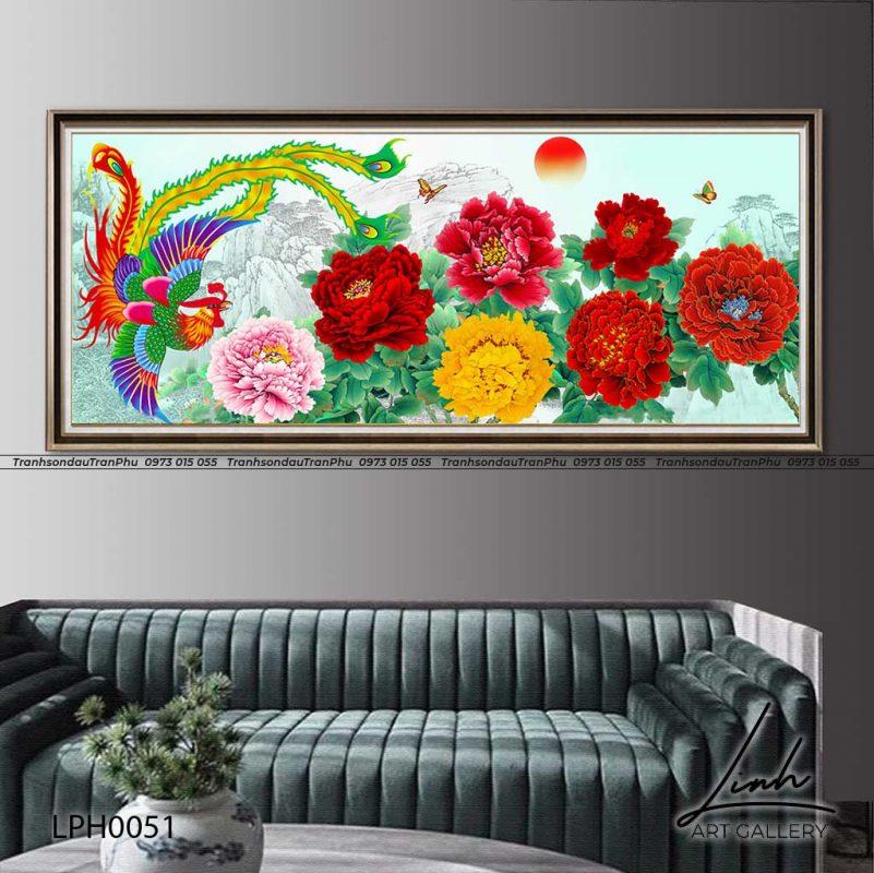 y nghia tranh phuong hoang 4 801x800 - Tranh Phượng Hoàng Hoa Mẫu Đơn - LPH0112